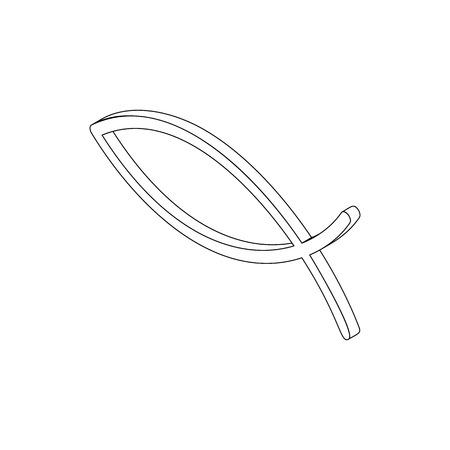 ictus: Ichthys fish symbol in isometric 3d style isolated on white background Illustration