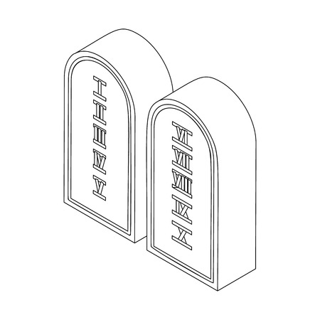 Ten commandments icon in isometric 3d style isolated on white background