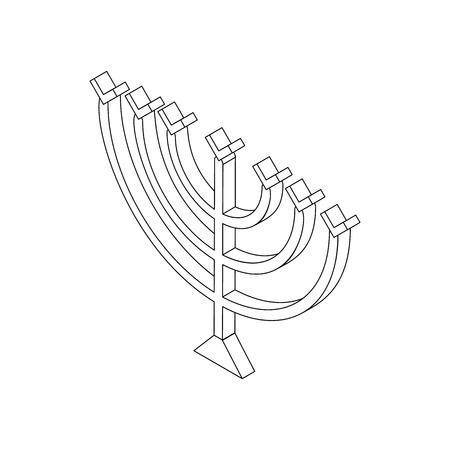 hanukkah menorah: Hanukkah menorah icon in isometric 3d style isolated on white background