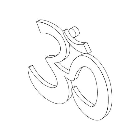 sanskrit: Om sign in isometric 3d style isolated on white background