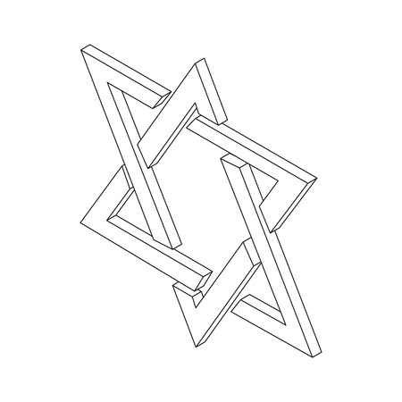 Star of David symbol icon, isometric 3d style. Black illustration on white for web