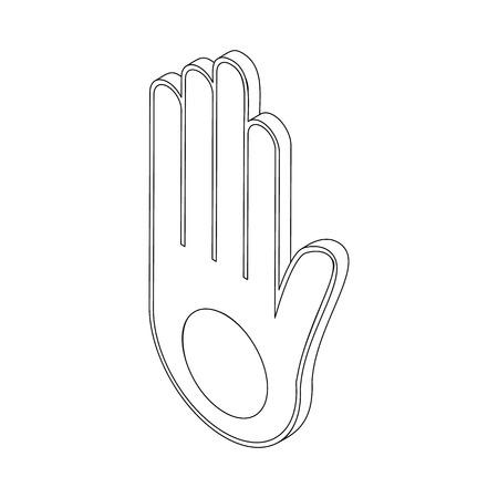 ahimsa: Jainism symbol icon, isometric 3d style. Black illustration on white for web