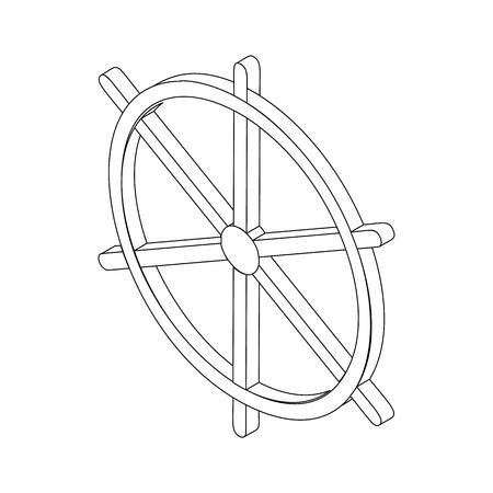 rueda de la fortuna: Dharmachakra. Rueda de Dharma s�mbolo de la fortuna y el budismo Hinduismsymbol icono, estilo isom�trico 3d Vectores