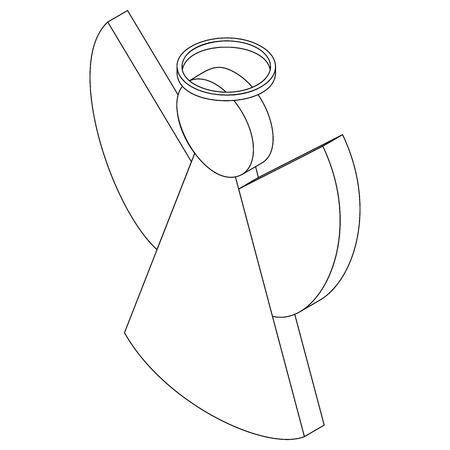 angel white: Angel symbol icon isometric 3d style. Black illustration on white for web Illustration