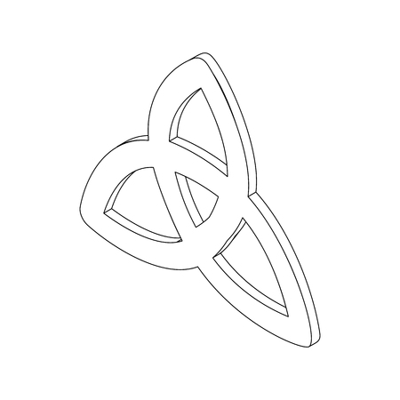 irish culture: Triquetra celtic knot symbol icon, isometric 3d style. Black illustration on white for  web