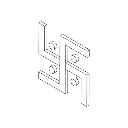 buddhist: Swastika icon, isometric 3d style. Hinduism spiritual symbol. Black illustration on white