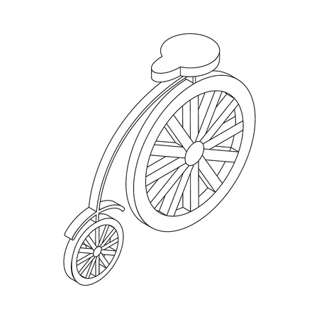 velocipede: Bicycle icon, isometric 3d style. Retro style circus bike with big rear wheel Illustration