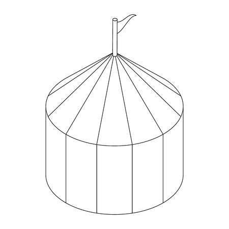 tabernacle: Circus tent icon, isometric 3d style. Black illustration on white for web Illustration