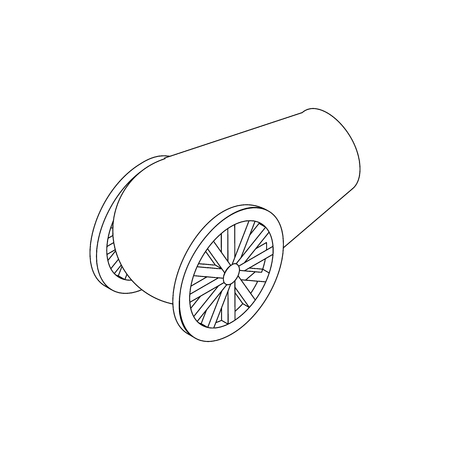 artillery: Cannon artillery icon, isometric 3d style. Black illustration on white for web