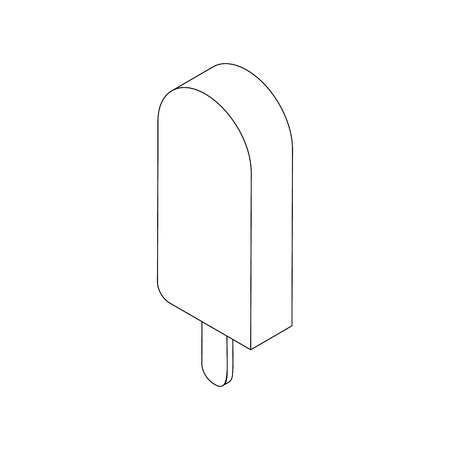 lolly: Ice cream lolly icon, isometric 3d style. Black illustration on white for web