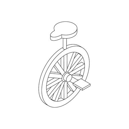 unicycle: Unicycle icon, isometric 3d style. Black illustration on white for web