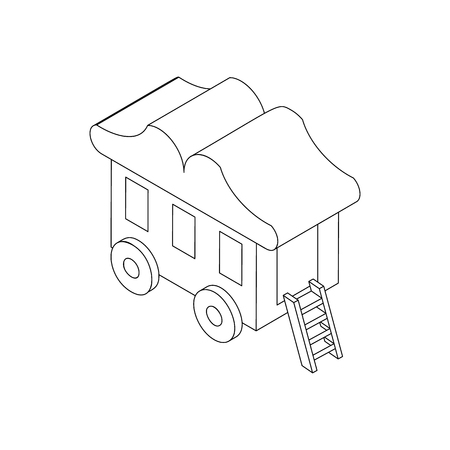 circus caravan: Wagon circus icon, isometric 3d style. Black illustration on white for web