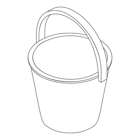 house work: Bucket icon in isometric 3d style isolated on white background. House work
