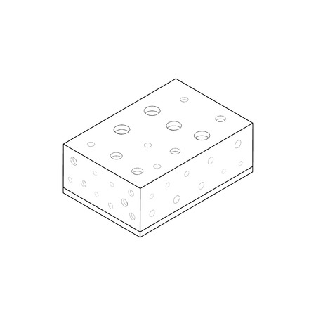 washing the dishes: Sponge for washing dishes icon in isometric 3d style isolated on white background. Cleaning