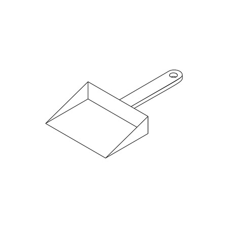 whisk broom: Dustpan icon in isometric 3d style isolated on white background. Cleaning