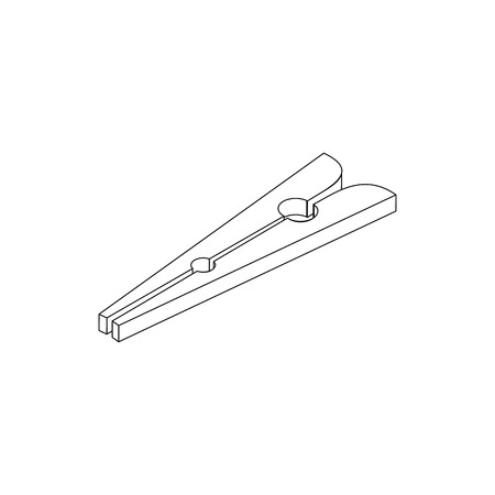 clothespin: Clothespin icon in isometric 3d style isolated on white background