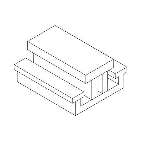 lawn chair: Picnic table icon in isometric 3d style on a white background Illustration