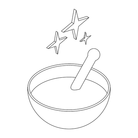 magic potion: Bowl with magic potion icon in isometric 3d style on a white background
