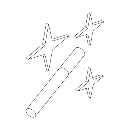 witchery: Magic wand icon in isometric 3d style on a white background