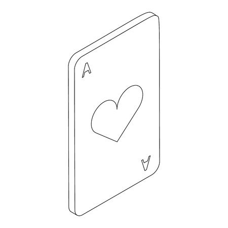 ace of hearts: Ace of hearts icon in isometric 3d style on a white background