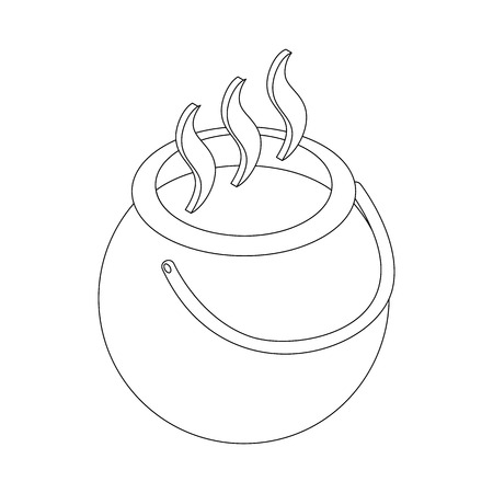 3d witch: Witch cauldron with potion icon in isometric 3d style on a white background
