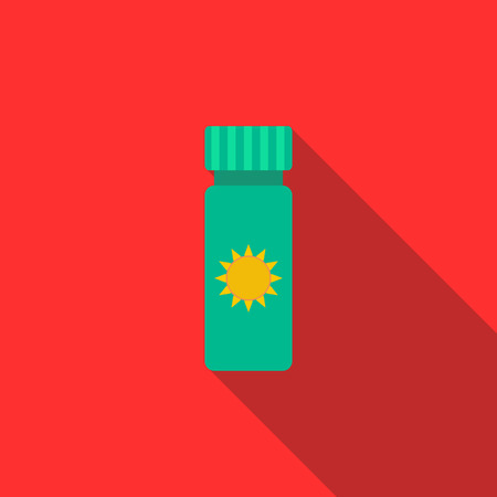protect icon: Sun protect icon in flat style on red background Illustration