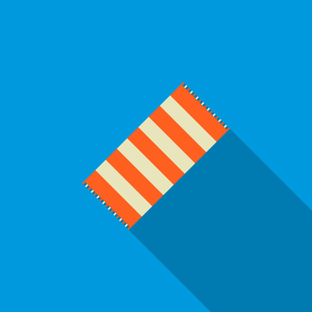 matting: Striped beach towel icon in flat style on blue background