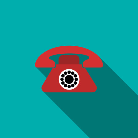 parley: Red retro telephone icon in flat style on a blue background