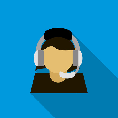 handsfree: Call center operator icon in flat style on a blue background