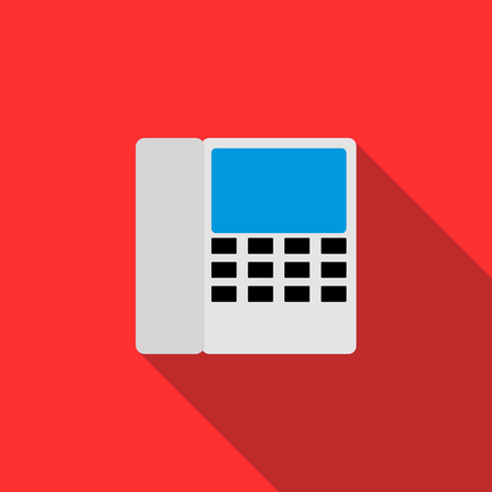 caller: Radiotelephone icon in flat style on a red background