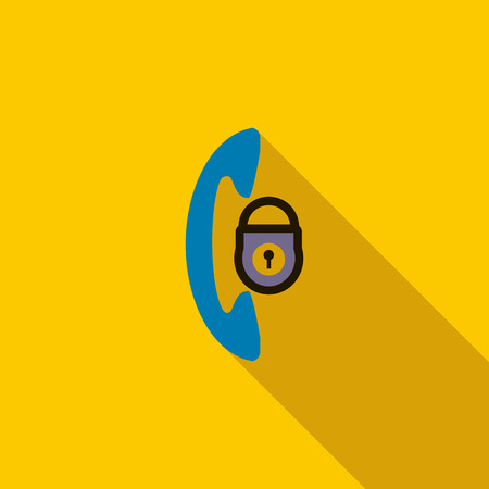 office theft: Phone and padlock icon in flat style on a yellow background