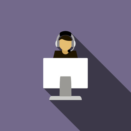 computer operator: Call center operator with headphone and computer icon in flat style on a violet background
