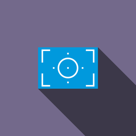len: Camera viewfinder icon in flat style on a violet background Illustration