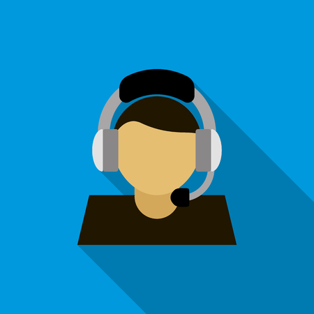 call centre girl: Customer service operator icon in flat style on a blue background