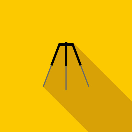 tripod: Tripod icon in flat style on a yellow background