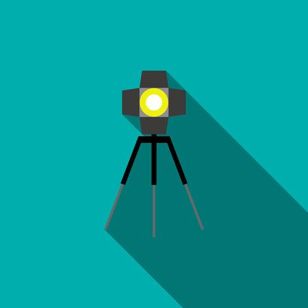 studio lighting: Studio lighting icon in flat style on a blue background