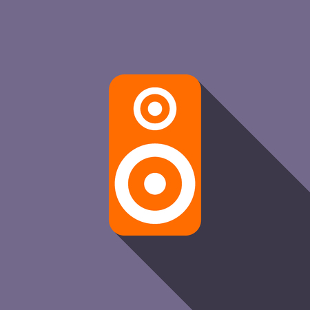 acoustic systems: Music speaker icon in flat style on a violet background Illustration