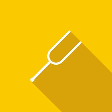tuning fork: Tuning fork icon in flat style on a yellow background