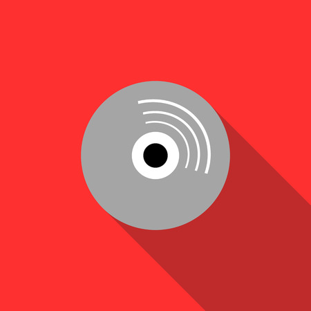 recordable media: Blank CD icon in flat style on a red background