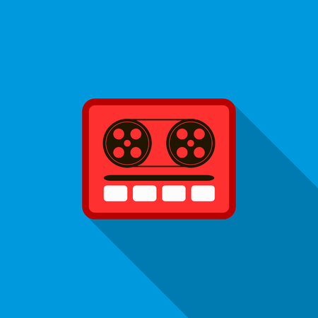 boom box: Boom box or radio cassette tape player icon in flat style on a blue background Illustration