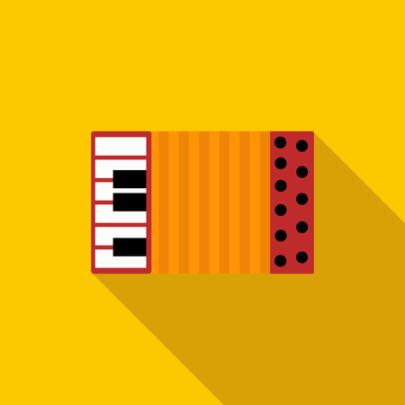 accordion: Accordion icon in flat style on a yellow background Illustration
