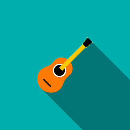 classical guitar: Classical guitar icon in flat style on a blue background Illustration