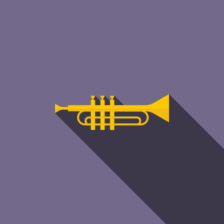 fanfare: Brass trumpet icon in flat style on a violet background Illustration