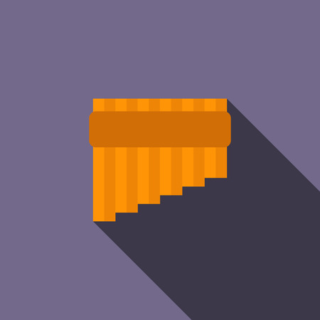 Pan flute icon in flat style on a violet background