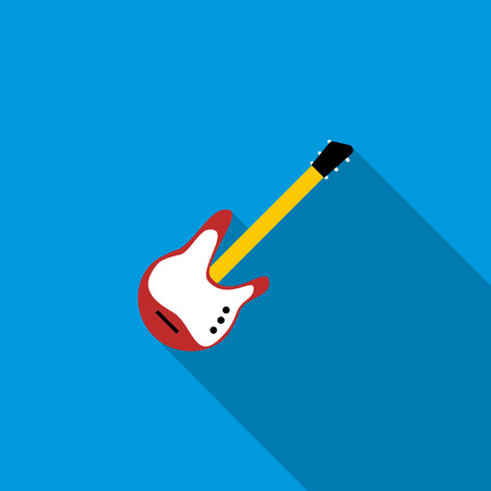 rosewood: Red electric guitar icon in flat style on a blue background Illustration
