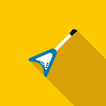 rosewood: Blue electric guitar icon in flat style on a yellow background