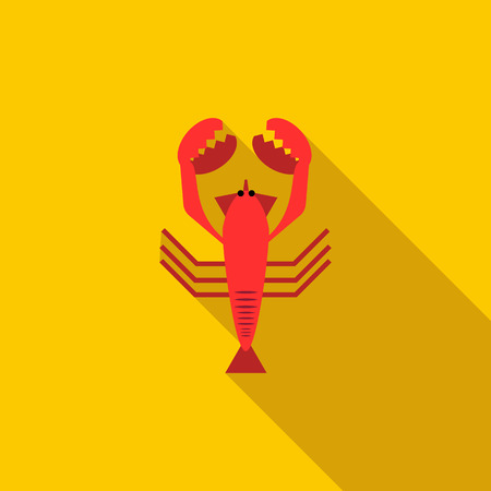 boiled: Boiled red crayfish icon in flat style with long shadow