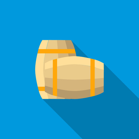 barrels set: Set of wooden barrels icon in flat style with long shadow