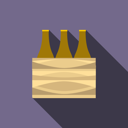 limpid: Brown beer bottles icon in flat style with long shadow Illustration