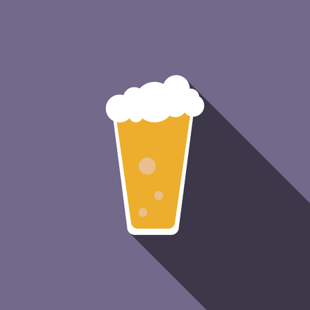 condensation on glass: Traditional beer glass icon in flat style with long shadow